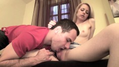 Slender blonde gets wet while having her succulent clit rubbed