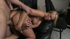 Insatiable blonde Mellanie takes a fat prick in her skilled hands
