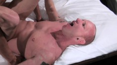 Bald studs with great muscles make each other scream in pleasure