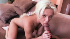 Buxom blonde Megan Monroe takes Diesel's huge dick in her fiery peach