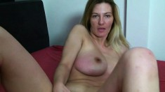 Desirable housewife Vanessa shows off her hot body and fucks a sex toy