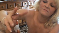 Fat granny with big tits blows him and titty fucks, then sucks his jizz out
