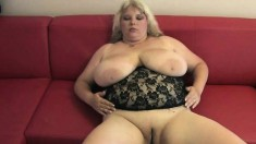 Chubby mom with huge breasts Juliana fingers her juicy cunt to orgasm