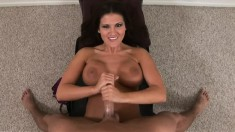 Voluptuous milf Austin Kincaid teases and pleases a long stick in POV