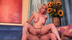 Busty blonde Sophia Mounds gets his pussy wrecker banging her hard