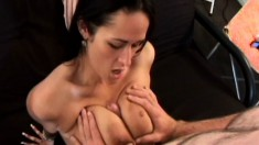 Naughty Carmella Bing is crazy about working a cock with her boobs