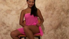 Sunny Lee wears her pink nightie and shows her tight little butt