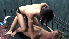 Insatiable blonde gets fucked by her hot lesbian lover with a strap-on