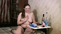 Naughty Eleonora shows off her curvy body after a few bottles of wine