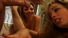 Two babes work on a lucky cock with mouth, pussy, and buttholes