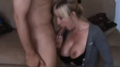 Stacked blonde mommy gives a great blowjob and relishes a deep fucking