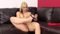 Busty blonde mom in hot red lingerie Sarah Vandella pleases her snatch
