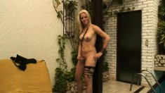 Buxom blonde tranny Mel Vogue gets her dick sucked and her ass fucked