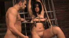 Voluptuous brunette gets tied up and indulges in hardcore sex action