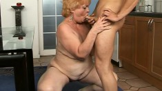 Kinky granny seduces a young stud and has him satisfying her desires