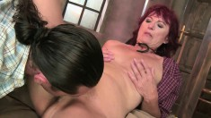 Dazzling redhead milf gets her honey hole devoured and drilled good