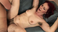 Red-haired mature lady loves to get her hairy beaver pounded