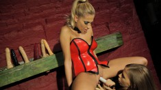 Naughty blonde dominatrix is eager to fuck a stunning starlet