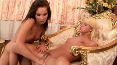 Sexy slim blonde teen Bianka has her girlfriend fisting her hairy twat