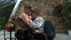 Insatiable blonde MILF can't wait to taste this young dude's prick