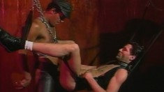 Insatiable guy moans while getting fucked in the ass using a sex swing