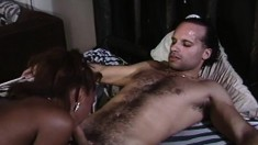 Valentino buries his long shaft inside a black beauty's tight snatch