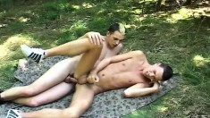 Hunky young soldier drills a lustful tourist's tight ass in the woods