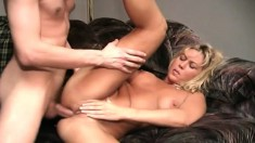 Busty MILF fingers herself, gets licked and sucks, and he nails her ass