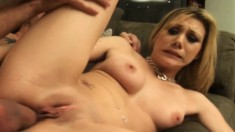 Shy blonde Samantha Sin has two horny dudes stretching her tight holes