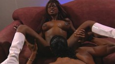 Busty black babe gets eaten out and then has her cunt stuffed