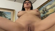 Naughty Secretary Mindy Peels Off Her Clothes And Fucks Her Hung Boss