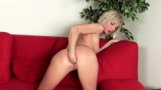 Slim blonde drops her clothes and slowly fists her tight shaved peach
