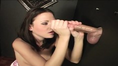 Sindee Jennings displays her lovely curves and worships a mystery pole