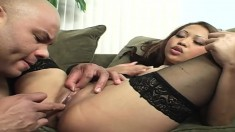 Slutty Jasmine Leigh gets her sweet Asian pussy pounded by a huge black cock