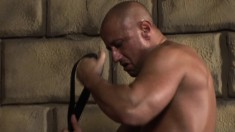 Twink in a leather choker gets his ass fucked by two muscled skinheads