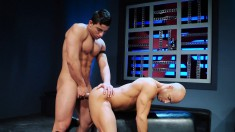 Good-looking young dude gets bent over and fucked in this hot gay action