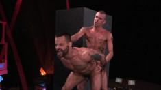 Two wild studs take a break from work and explore their gay fantasies