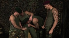 Four military hunks set up a gay encounter to fulfill common desires
