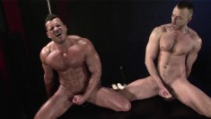 Two horny gay friends passionately riding big dildos and jerking off
