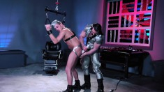 Horny sailor is strung up and gets his ass probed with a vibe by his bearded master