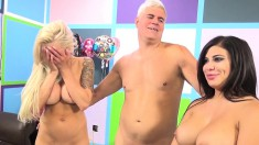 Big breasted nymphos Nina Elle and Alexa Pierce share a raging stick