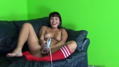 Busty Asian babe Mena Li masturbates on the couch, then gets her ass licked