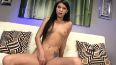 Slender brunette Ezmie Lee makes herself cum and jack off a big shaft