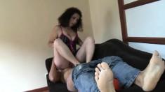 Bodacious Brunette Gabriella Sends Her Sexy Feet Delivering Pleasure