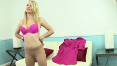 Enchanting blonde in pink Stella Banxxx fucks herself with a sex toy