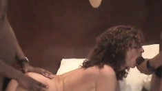 Voluptuous brunette wife Lana gets pounded by black bulls on the bed