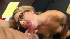 Nerdy blonde in stockings flashes her boobs and fucks a raging shaft