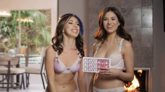 Two hotties in their lingerie chat about sex cards they receive