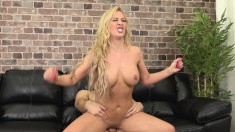 Foxy blonde MILF shows her stuff, gobbles dick and gets nailed