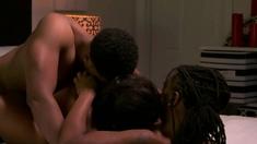 Amateur ebony babes sharing and fucking a big black cock